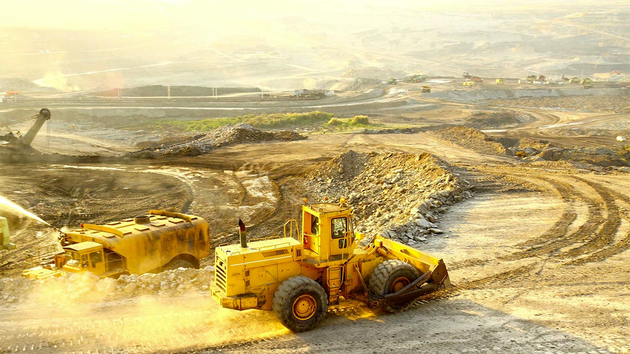 Mine with truck and dozer